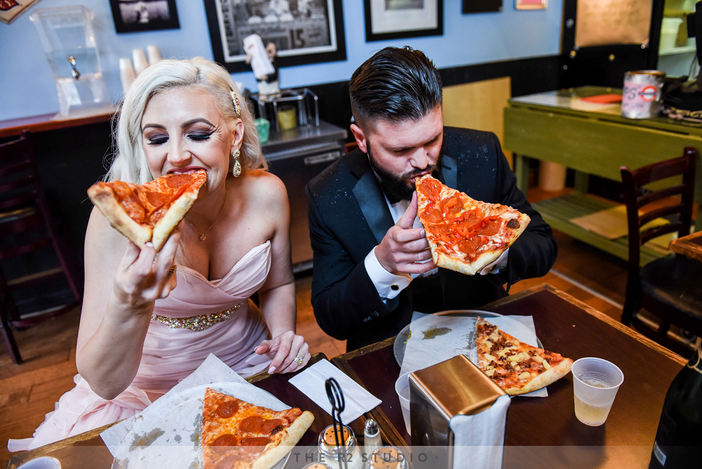 Sommer and Brody spared no expense during this spur of the moment pit stop at a local San Francisco pizza joint, which included a quick toast of champagne in plastic dixie cups.